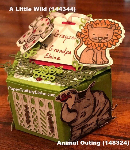 A little Wild stampin up, window box project,  Stampin' Up projects, handmade projects, projects for kids, birthday projects, gift boxes, 3D Stampin' Up projects, PaperCraftsbyElaine.com,