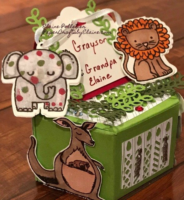 Window Box Framelits, gift boxes, handmade gift boxes, elephants, lions, fun for the kids, greeting cards for kids,
