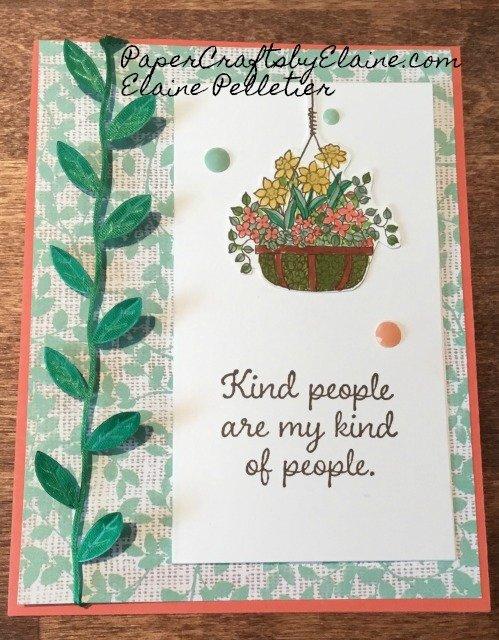 Hanging Basket stamp set,  Frost Florals DSP, Stampin Blends, greeting cards, birthday cards, leaf ribbon,