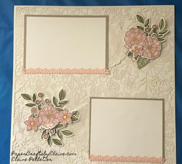 scrapbooking layouts, scrapbook ideas, elegant scrapbook pages, Stampin Up, PapercraftsbyElaine.com, greeting cards, may flower framelits.