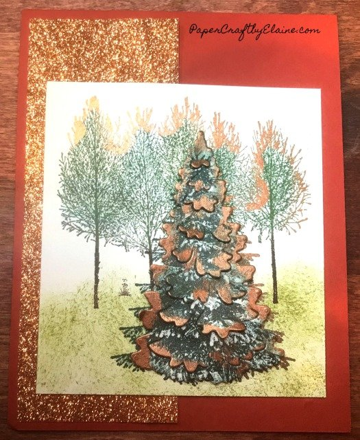 Winter Woods Bundle Stampin' Up, Winter woods Stampin' Up, shimmer paint, how to use shimmer paint on cards, Highlight with shimmer paint. Stampin' Up holiday catalog,