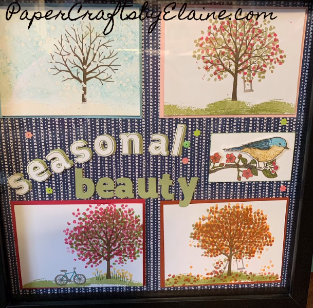 Sheltering Trees stamp set, shadow boxes, 4 seasons, Best Bird stamp set,  Making a Shadow box,