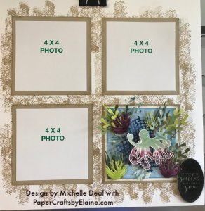 Sea of Texture stamp set, under the sea dies, scrapbook pages, 12x12 layout pages, Stampin' Up and 12 x 12 layouts,
