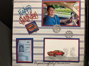 new car scrapbook layout, geared up stamp set, geared up scrapbooked layout, easy scrapbook pages, Stampin' Up scrapbook design.