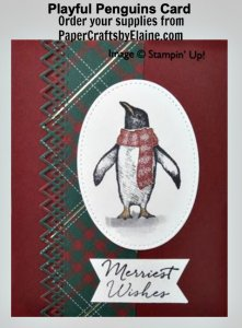 Playful Penguins stamp set, greeting cards, handmade greeting cards, Christmas Cards, invitation for holidays, Holiday cards, Winter Birthday Cards, Merriest of Christmas,