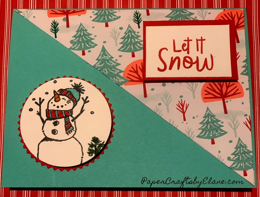 Let It Snow & Snowman Builder, two great sets together! Creating these cards were just plain FuN!. Let it snow designer series paper and the snow builder stamp set with the punch makes them easy too. The colors in the Let it Snow designer series paper mades these easy to uses for so much more than just Christmas cards. Think birthday, winter party invitation, scrapbook page of kids playing in the snow. Our recent squash book was done in this designer series paper as well.