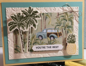 Tropical Oasis card class, monthly card class, greeting cards, handmade greeting card, tropical oasis cards, scrapbook pages.